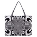 Black And White Ornamental Flower Medium Tote Bag View1