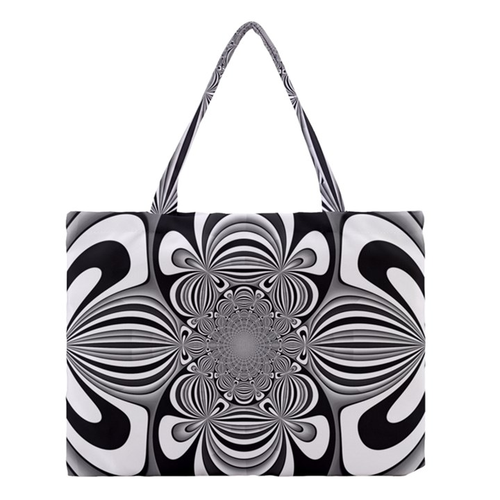 Black And White Ornamental Flower Medium Tote Bag