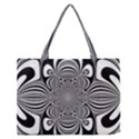 Black And White Ornamental Flower Medium Zipper Tote Bag View1