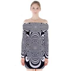 Black And White Ornamental Flower Long Sleeve Off Shoulder Dress