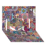 Ornamental Mosaic Background I Love You 3D Greeting Card (7x5)