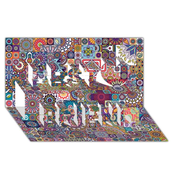 Ornamental Mosaic Background Best Friends 3D Greeting Card (8x4)