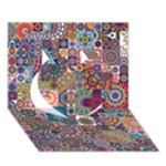 Ornamental Mosaic Background Heart 3D Greeting Card (7x5)
