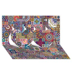 Ornamental Mosaic Background Twin Hearts 3d Greeting Card (8x4)