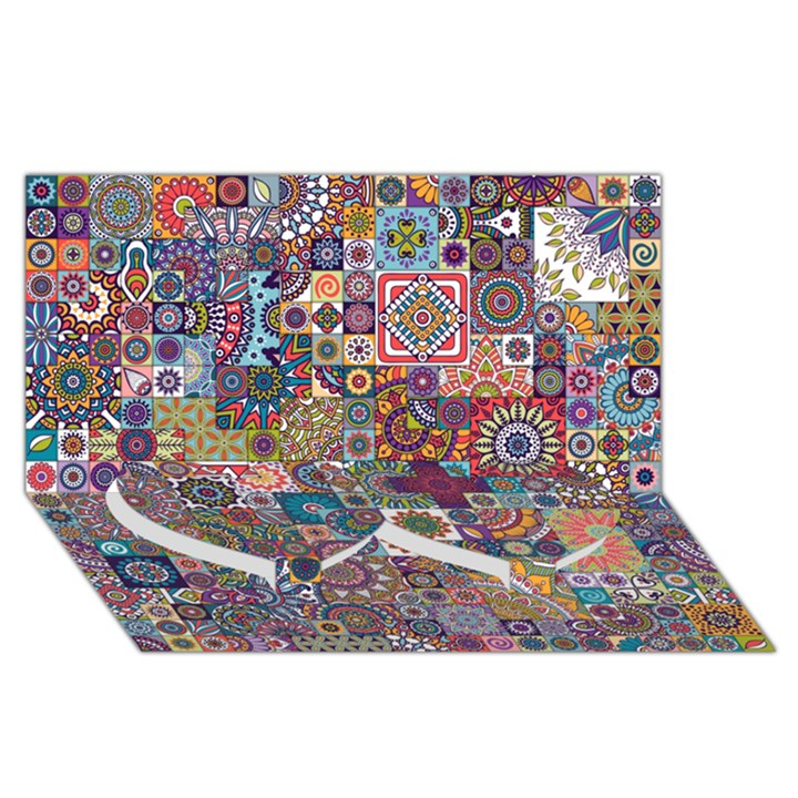 Ornamental Mosaic Background Twin Heart Bottom 3D Greeting Card (8x4)