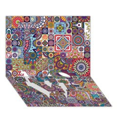 Ornamental Mosaic Background Love Bottom 3d Greeting Card (7x5)