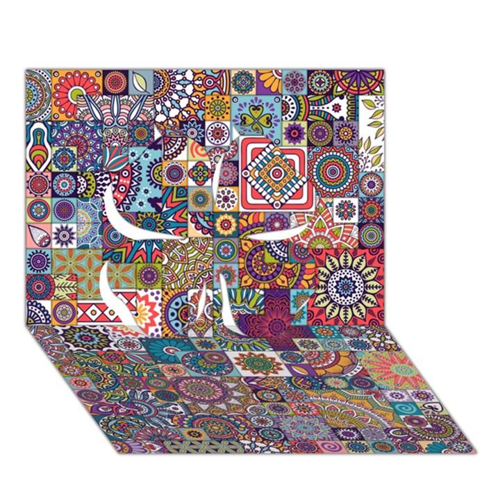 Ornamental Mosaic Background Clover 3D Greeting Card (7x5)