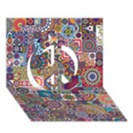 Ornamental Mosaic Background Peace Sign 3D Greeting Card (7x5)