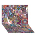 Ornamental Mosaic Background Circle 3D Greeting Card (7x5)