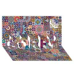 Ornamental Mosaic Background Sorry 3d Greeting Card (8x4)
