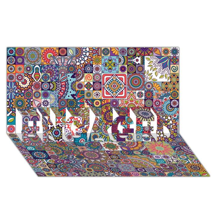 Ornamental Mosaic Background ENGAGED 3D Greeting Card (8x4)