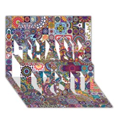 Ornamental Mosaic Background Thank You 3d Greeting Card (7x5) by TastefulDesigns