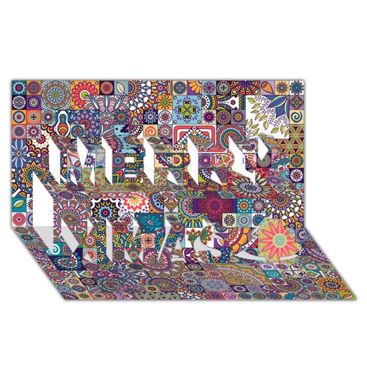 Ornamental Mosaic Background Merry Xmas 3D Greeting Card (8x4)