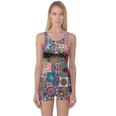 Ornamental Mosaic Background One Piece Boyleg Swimsuit