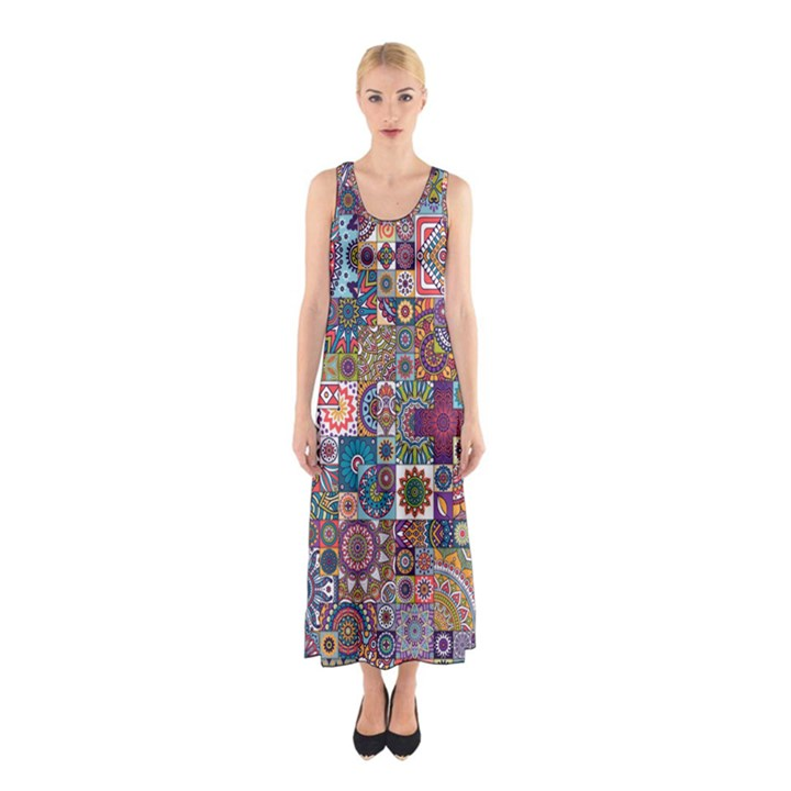 Ornamental Mosaic Background Sleeveless Maxi Dress