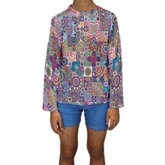 Ornamental Mosaic Background Kids  Long Sleeve Swimwear