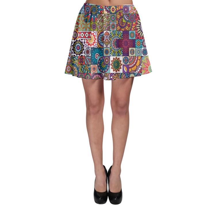 Ornamental Mosaic Background Skater Skirt