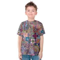 Ornamental Mosaic Background Kids  Cotton Tee