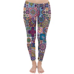 Ornamental Mosaic Background Winter Leggings