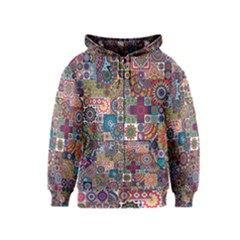 Ornamental Mosaic Background Kids  Zipper Hoodie