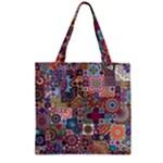 Ornamental Mosaic Background Zipper Grocery Tote Bag