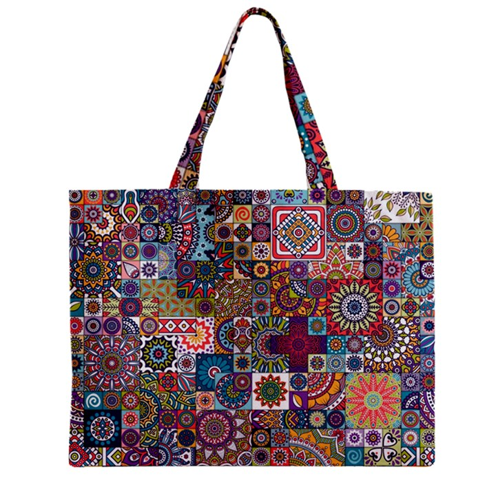 Ornamental Mosaic Background Zipper Mini Tote Bag