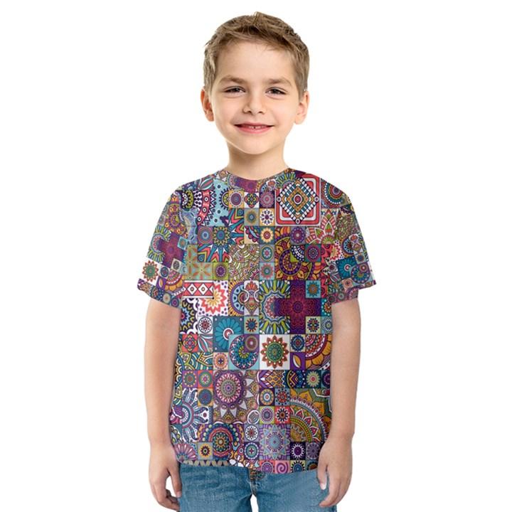 Ornamental Mosaic Background Kids  Sport Mesh Tee