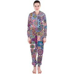 Ornamental Mosaic Background Hooded Jumpsuit (ladies)