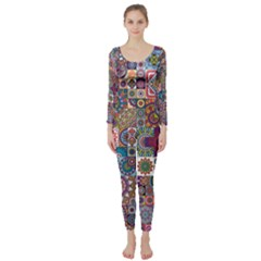 Ornamental Mosaic Background Long Sleeve Catsuit