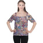 Ornamental Mosaic Background Women s Cutout Shoulder Tee