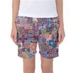 Ornamental Mosaic Background Women s Basketball Shorts