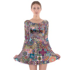 Ornamental Mosaic Background Long Sleeve Skater Dress