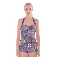 Ornamental Mosaic Background Boyleg Halter Swimsuit