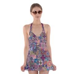Ornamental Mosaic Background Halter Swimsuit Dress