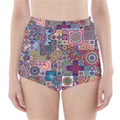 Ornamental Mosaic Background High Waisted Bikini Bottoms