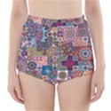 Ornamental Mosaic Background High-Waisted Bikini Bottoms View1