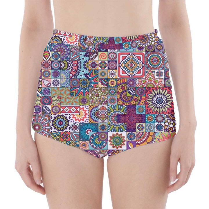 Ornamental Mosaic Background High-Waisted Bikini Bottoms