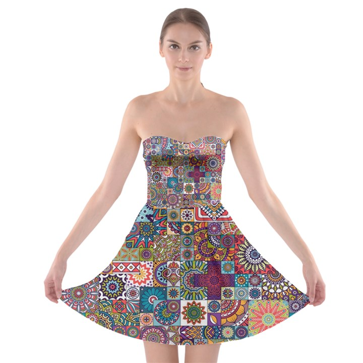 Ornamental Mosaic Background Strapless Bra Top Dress