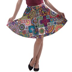 Ornamental Mosaic Background A Line Skater Skirt
