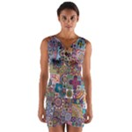 Ornamental Mosaic Background Wrap Front Bodycon Dress