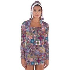 Ornamental Mosaic Background Women s Long Sleeve Hooded T Shirt