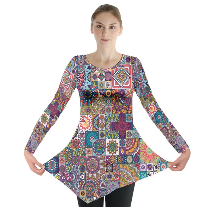 Ornamental Mosaic Background Long Sleeve Tunic