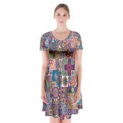 Ornamental Mosaic Background Short Sleeve V-neck Flare Dress