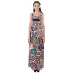 Ornamental Mosaic Background Empire Waist Maxi Dress