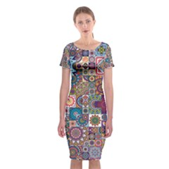 Ornamental Mosaic Background Classic Short Sleeve Midi Dress by TastefulDesigns