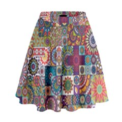 Ornamental Mosaic Background High Waist Skirt