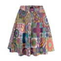 Ornamental Mosaic Background High Waist Skirt View1