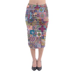 Ornamental Mosaic Background Midi Pencil Skirt