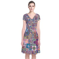 Ornamental Mosaic Background Short Sleeve Front Wrap Dress