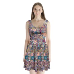 Ornamental Mosaic Background Split Back Mini Dress